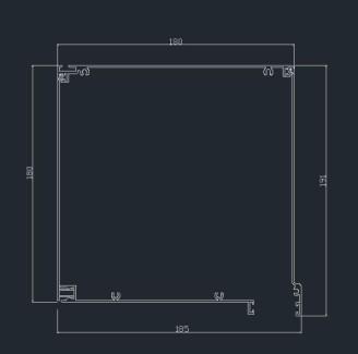 κουτί αλουμ. ίσιο 18 x 18